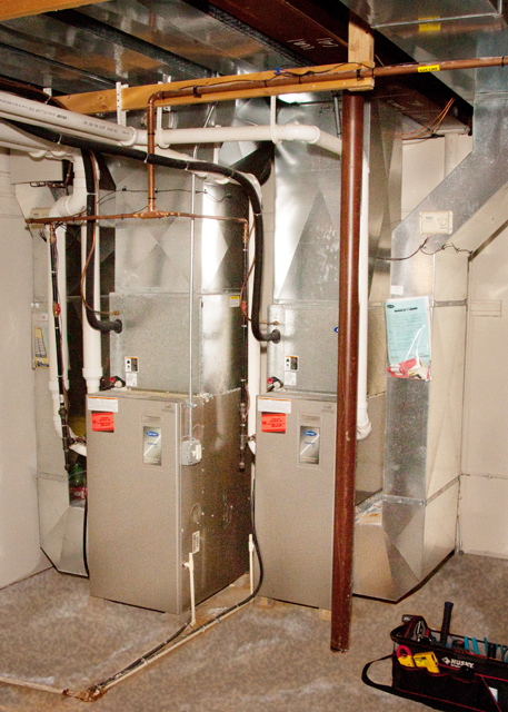 Furnace in basement of a house